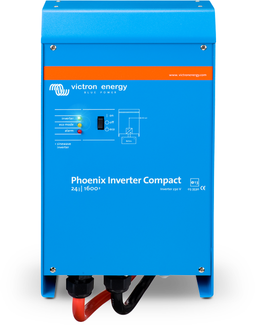 The Phoenix Inverter Compact is a pure sinewave inverter with a high efficiency. It is developed for professional duty and suitable for the wides range of applications. The Phoenix Inverters Compact is available from 1200VA up to 2000VA in 12V or 24V.